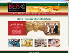 Neri's Bakery Products Web Design